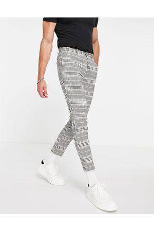 New Look Mænd Habitbukser - Cropped, slim-habitbukser med tern