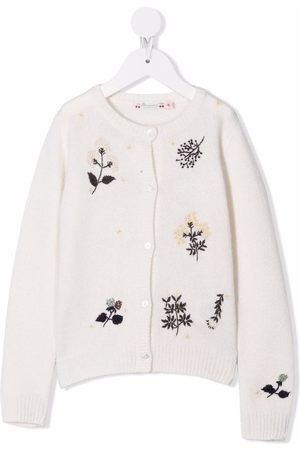 Bonpoint Floral-embroidered wool cardigan