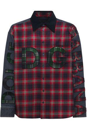 Dolce & Gabbana Oversize Logo Flannel & Denim Shirt
