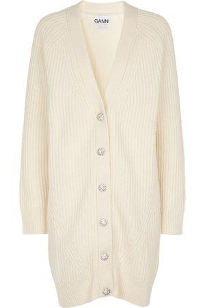 Ganni Embellished wool-blend cardigan
