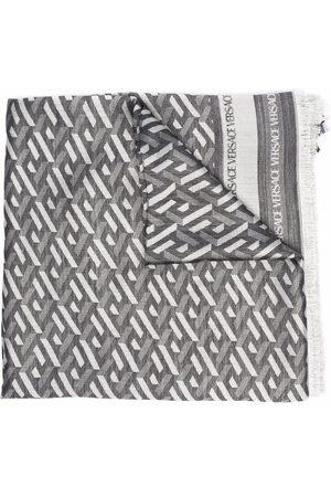VERSACE Tørklæde i silkeblanding med geometrisk mønster