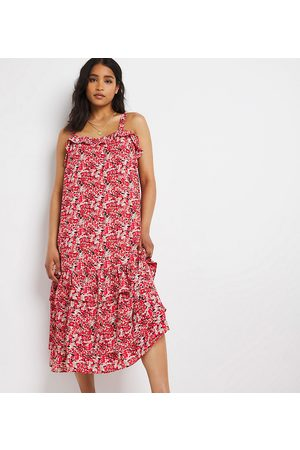 Simply Be Kvinder Mønstrede kjoler - Lagdelt sundress i rødt, småblomstret print