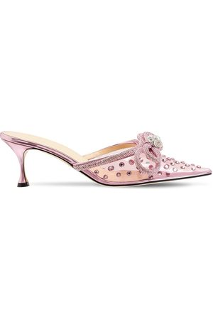 MACH & MACH 65mm Double Bow Embellished Pvc Mules