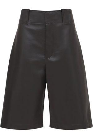 Bottega Veneta Kvinder Shorts - Wide Leg Leather Bermuda Shorts