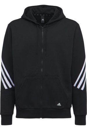 ADIDAS PERFORMANCE 3 Stripes Hooded Cotton Blend Track Top
