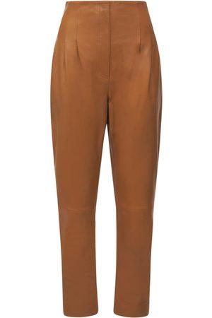Alberta Ferretti Kvinder Skindbukser - High Waist Leather Pants