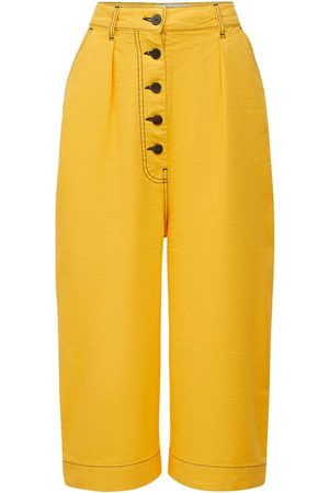 Loewe Cotton & Linen Canvas Cropped Trousers