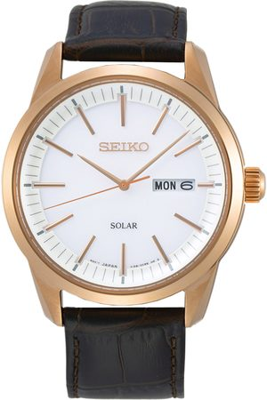 Seiko Mænd Ure - Solar Sapphire 40mm Rose Gold Steel White Dial