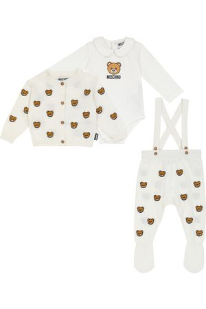 Moschino Baby cotton and wool bodysuit, cardigan and pants set