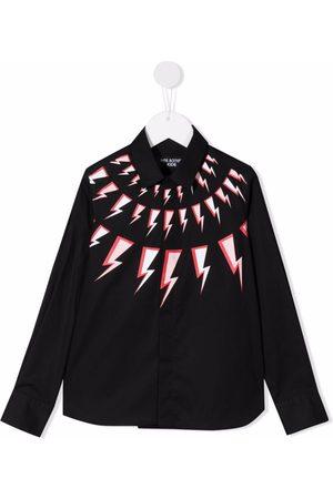 Neil Barrett Drenge Langærmede skjorter - Langærmet skjorte med lyntryk