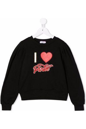 Pinko Kids Piger Sweatshirts - Sweatshirt med krystaludsmykket logo