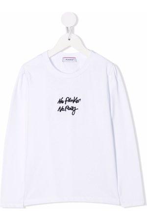 Pinko Kids T-shirt med broderet slogan