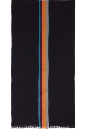 Paul Smith Navy Wool & Silk Artist Stripe Scarf