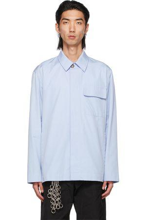 DRIES VAN NOTEN Mænd Business skjorter - Blue Cotton Poplin Shirt