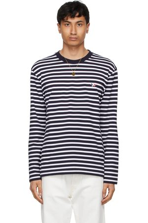Maison Kitsuné & White Tricolor Fox Patch Marin Long Sleeve T-Shirt