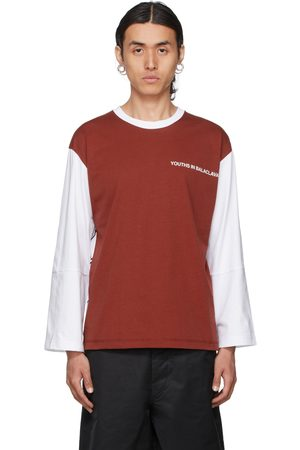 Youths in Balaclava Mænd Langærmede - White & Red Logo Long Sleeve T-Shirt