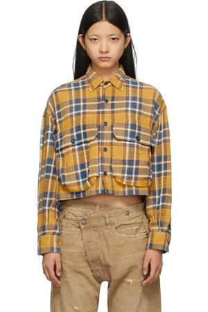 R13 Yellow & Blue Oversized Cropped Shirt