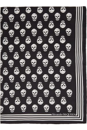 Alexander McQueen Kvinder Tørklæder - Black & White Silk Skull Scarf