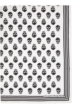 Alexander McQueen White & Black Silk Skull Scarf