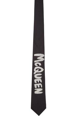 Alexander McQueen Black & Off-White Exploded Graffiti Tie