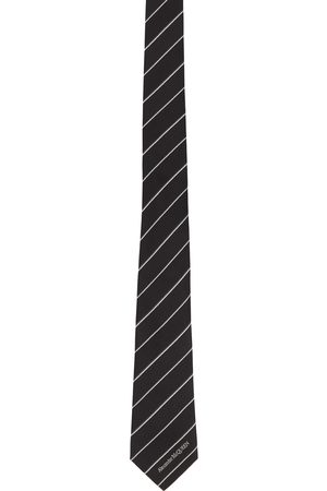 Alexander McQueen Mænd Slips - Black & White Silk Ruled Logo Tie