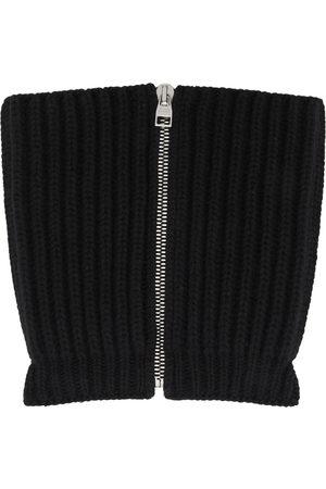Alexander McQueen Black Wool & Cashmere Zip Scarf