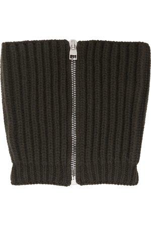 Alexander McQueen Khaki Wool & Cashmere Zip Scarf