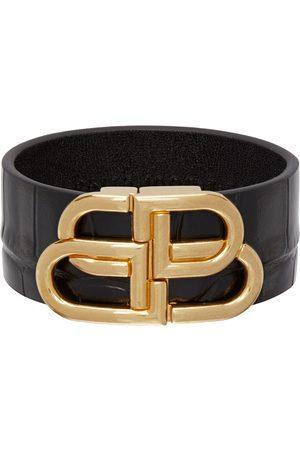 Balenciaga Black Calfskin Logo Bracelet