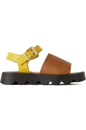 Marni Kids Brown & Yellow Leather Strap Sandals