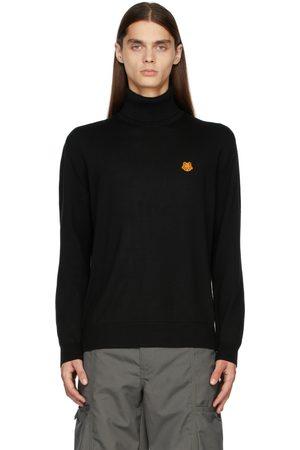 Kenzo Mænd Højhalset - Black Turtleneck Tiger Crest Sweater