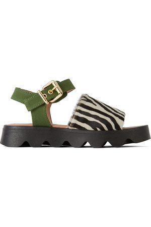 Marni Sandaler - Kids Black & White Zebra Fringe Sandals