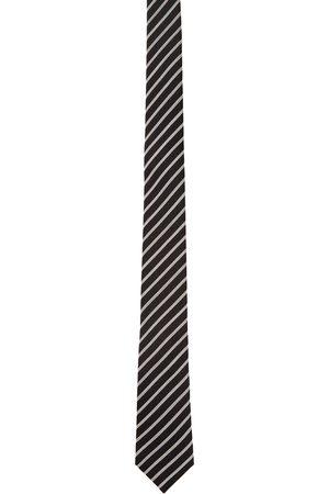 Saint Laurent Black & White Stripe Tie