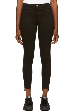 Frame Black 'Le High Skinny' Raw Stagger Jeans