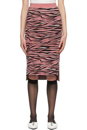 Stella McCartney Kvinder Mønstrede nederdele - Pink & Black Animal Pattern Mid-Length Skirt