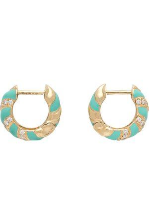 YVONNE LÉON Gold & Blue Twisted Enamel Earrings
