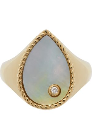 YVONNE LÉON Gold Mother-Of-Pearl Pear Signet Ring