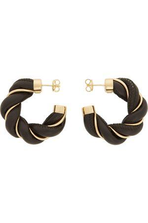 Bottega Veneta Brown & Gold Leather Twist Hoop Earrings