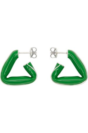 Bottega Veneta Green Enamel Triangle Hoop Earrings