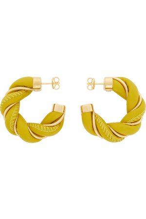 Bottega Veneta Kvinder Øreringe - Yellow & Gold Leather Twist Hoop Earrings