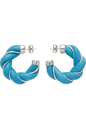 Bottega Veneta Blue & Silver Leather Twist Earrings