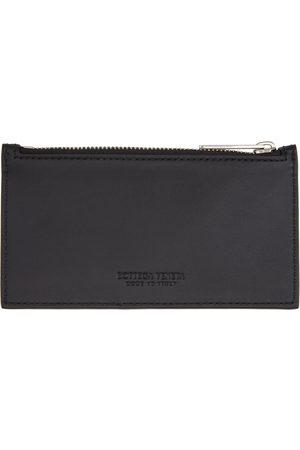 Bottega Veneta Black & Blue Intrecciato Zipped Card Holder