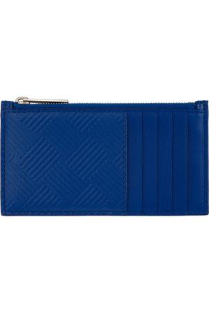 Bottega Veneta Mænd Punge - Blue Embossed Zip-Up Card Holder
