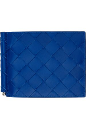 Bottega Veneta Blue Intrecciato Bill Clip Bifold Wallet
