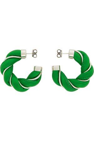 Bottega Veneta Kvinder Øreringe - Green & Silver Leather Twist Hoop Earrings