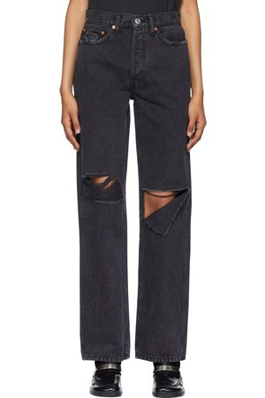 RE/DONE Black Distressed High Rise Loose Jeans