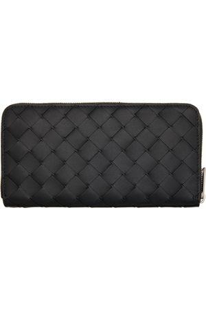 Bottega Veneta Black Intrecciato Zip Around Wallet