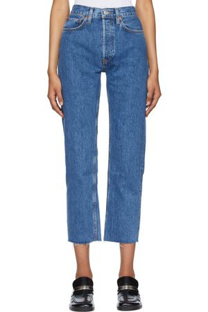 RE/DONE Blue High Rise 70s Stove Pipe Jeans