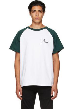 Rhude Mænd Kortærmede - Green & White Raglan Logo T-Shirt