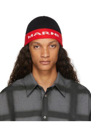 Marni Black & Red Jacquard Logo Beanie