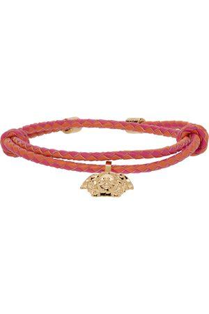 VERSACE Pink & Orange Braided Leather Medusa Bracelet